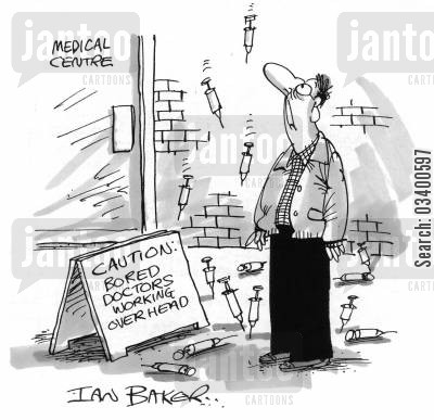 tiredness cartoon humor: Cautions: Bored Doctors Working Overhead
