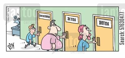 plastic surgeon cartoon humor: Chicken pox, Detox, Botox
