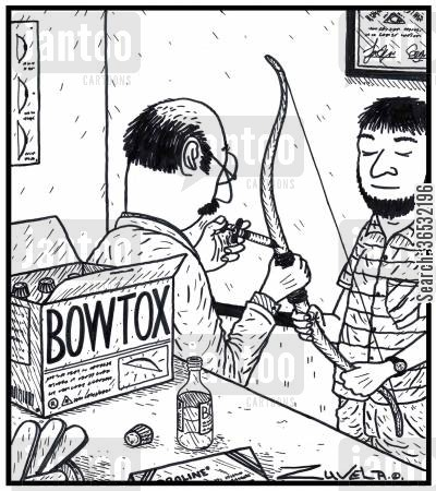 bow and arrows cartoon humor: Bowtox.