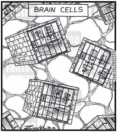 brain cells cartoon humor: Human Brain cells in the form of Jail cells inside the brain.