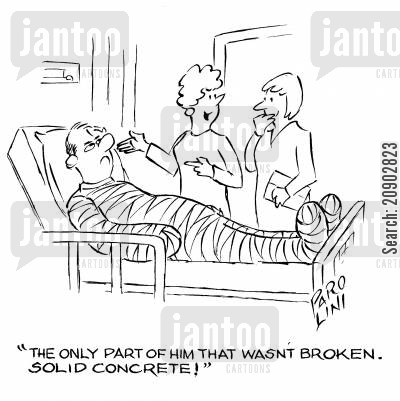 survived cartoon humor: 'The only part of him that wasn't broken. Solid concrete!'