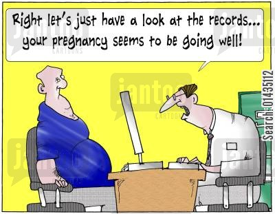 medical records cartoon humor: 'Right let's just have a look at the records...your pregnancy seems to be going well.'