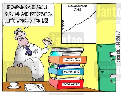 social darwinism cartoon humor: 'If Darwinism is about survival and procreation...it's working for us.'