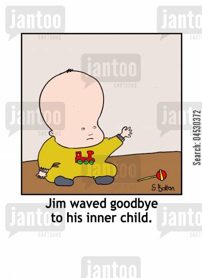 goodbye cartoon humor: Jim waved goodbye to his inner child