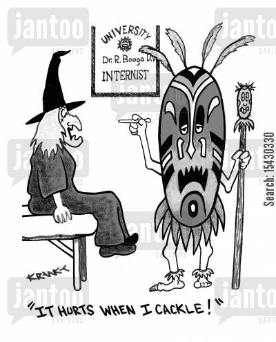 cackle cartoon humor: 'It hurts when I cackle!'