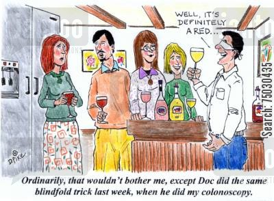 party tricks cartoon humor: 'Ordinarily, that wouldn't bother me, except Doc did the same blindfold trick last week, when he did my colonoscopy.'