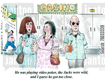 amputations cartoon humor: 'He was playing video poker, the Jacks were wild, and I guess he got too close.'