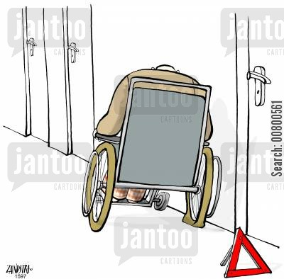 punctures cartoon humor: Wheelchair Puncture.