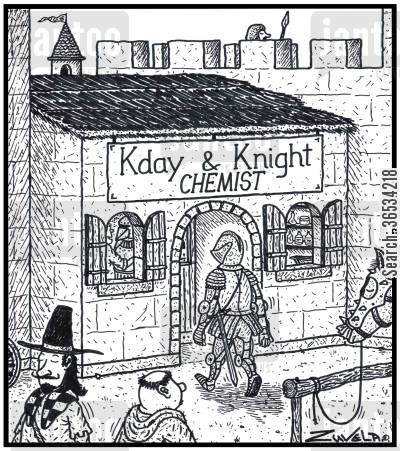 middle ages cartoon humor: Kday & Knight Chemist