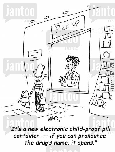 meds cartoon humor: It's a new electronic child-proof pill container
