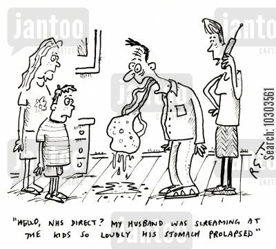 telling offs cartoon humor: 'Hello, NHS direct? My husband was screaming at me kids so loudly his stomach prolapsed.'