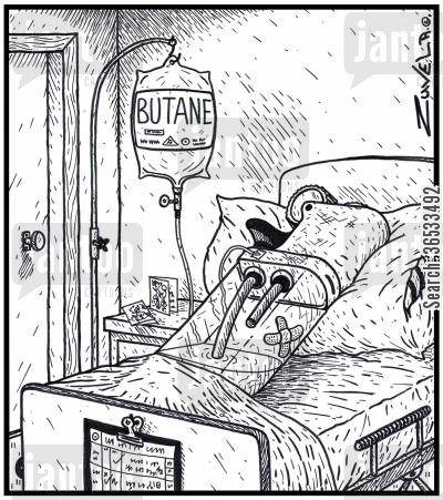 lighters cartoon humor: An injured cigarette lighter in Hospital on a Butane drip.