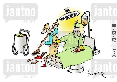 operating theatres cartoon humor: Hospital Cleaning.