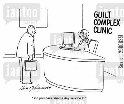 guilts cartoon humor: 'Do you have shame day service?'