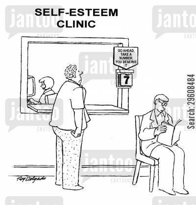queuing cartoon humor: Self esteem clinic - Go ahead, take a number. You deserve it.