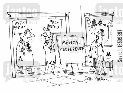 anti cartoon humor: Medical Conference: Anti-BioticsPro-Biotics.