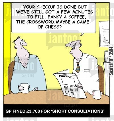 consultation cartoon humor: GP fined £3,700 for 'short consultations'.