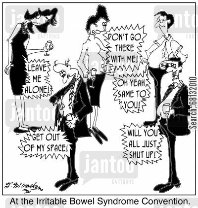 ibs cartoon humor: At the Irritable Bowel Syndrome Convention.