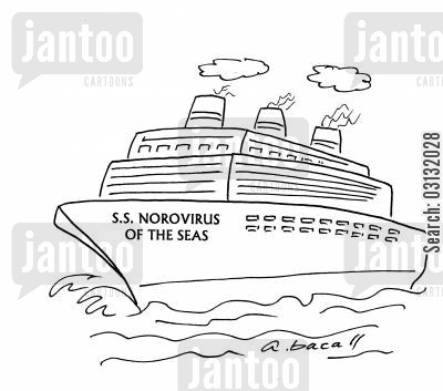 clean hands cartoon humor: SS Norovirus of the Seas.