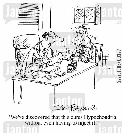 cured cartoon humor: We've discovered this cures hypochondria without even having to inject it...!