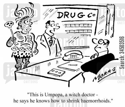haemorrhoids cartoon humor: This is Umpopa, a witch doctor - he says he knows how to shrink hemorrhoids.