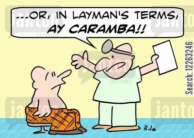 laymans terms cartoon humor: '...Or, in layman's terms, Ay caramba!'