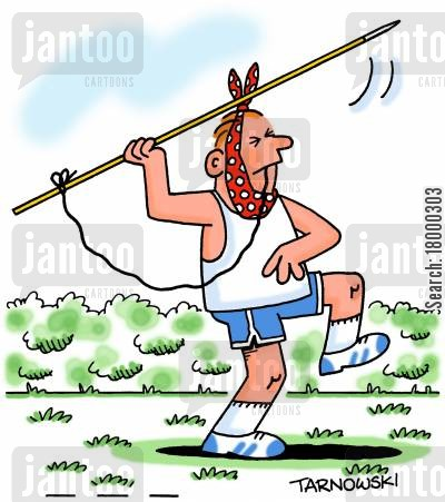 toothache cartoon humor: Using a javelin to remove a tooth.