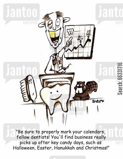 tooth brush cartoon humor: 'Be sure to properly mark your calendars, fellow dentists...'
