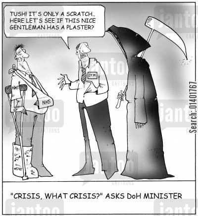doh minister cartoon humor: 'Crisis, what crisis?' asks DoH Minister.