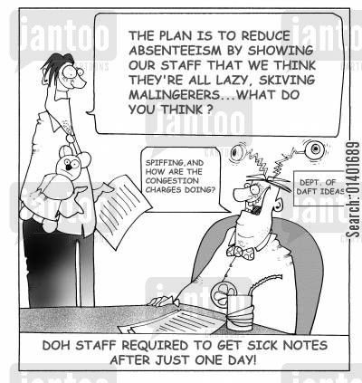 sick notes cartoon humor: DOH staff rquired to get sick notes after just one day!