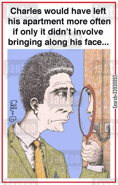 agoraphobia cartoon humor: Charles would have left his apartment more often if only it didn't involve bringing along his face...