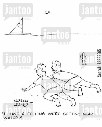 desert crawler cartoon humor: 'I have a feeling we're getting near water.'