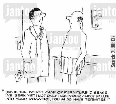 case study cartoon humor: 'This is the worst case of furniture disease I've seen yet! Not only has your chest fallen into your drawers, you also have termites.'