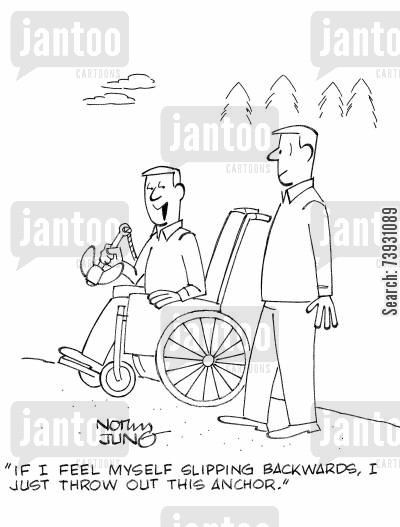 ramblers cartoon humor: 'If I feel myself slipping backwards, I just throw out this anchor.'