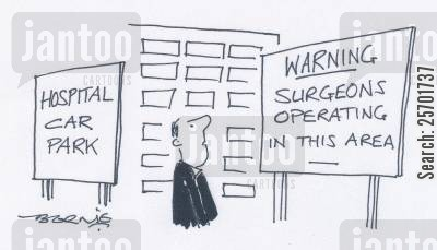 car thief cartoon humor: Warning: surgeons operating in this area.