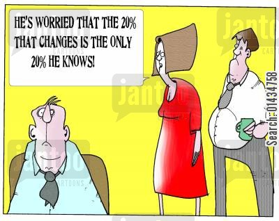 medical knowledge cartoon humor: 'He's worried that the 20 that changes is the 20 that he knows.'