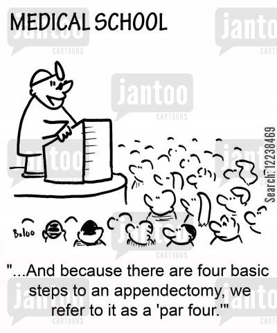 par four cartoon humor: '...And because there are four basic steps to an appendectomy, we refer to it as a 'par four.''