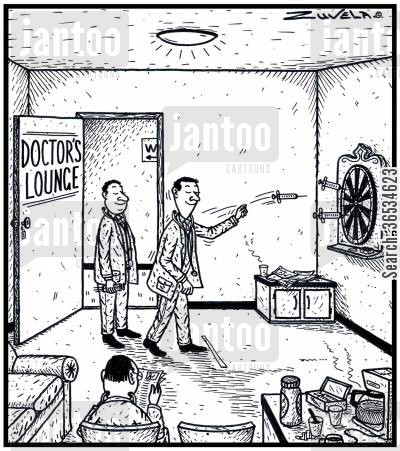 bar game cartoon humor: Doctors playing a friendly game of Darts with Syringes for Darts.