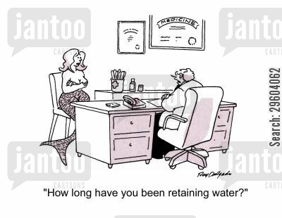 merpeople cartoon humor: 'How long have you been retaining water?'