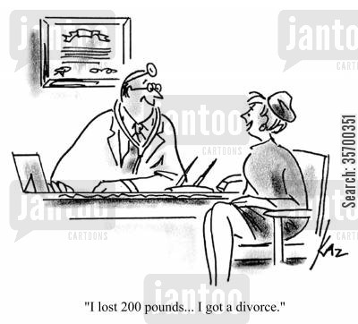 fat husband cartoon humor: 'I lost 200 pounds...I got a divorce.'