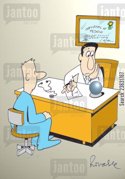 medicines cartoon humor: Doctor using a crystal ball to diagnose patient,