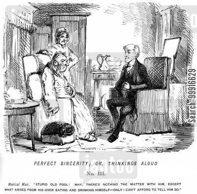 bad health cartoon humor: Perfect sincerity; or, tinkings aloud No. II - Doctor admits that his patient only suffers from his over eating and over drinking, but he can't afford to tell him so