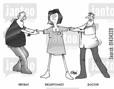 sick cartoon humor: Patient,receptionist,doctor.