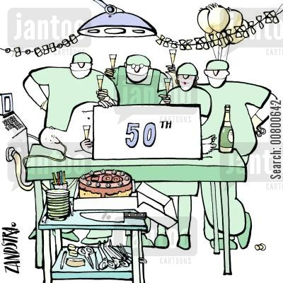 doctors surgery cartoon humor: Celebration in operating theatre.