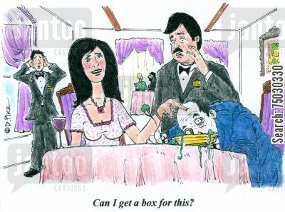 doggy bags cartoon humor: 'Can I get a box for this?'