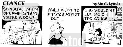 psychiatrists couch cartoon humor: Clancy: Dreaming of Being A Dog