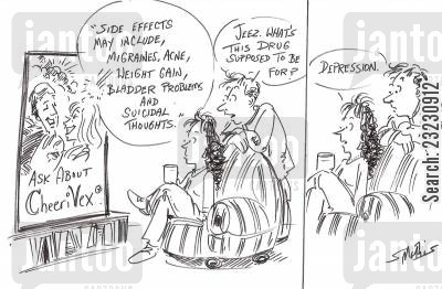 drug side effects cartoon humor: 'Side effects may include....'