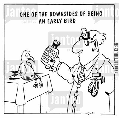 disadvantage cartoon humor: One of the Downsides of Being an Early Bird