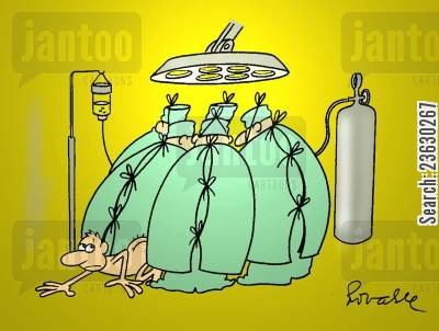 operating theatres cartoon humor: Escaping surgery.