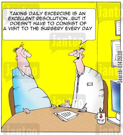 hypochondriacs cartoon humor: 'Taking daily exercise is an excellent resolution...but it doesn't have to consist of a visit to the surgery every day.'